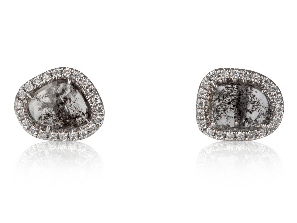 Medium Diamond Slice Stud Earrings Grey S 1
